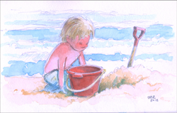 Ocean City, NJ - Sand Kid - Watercolor